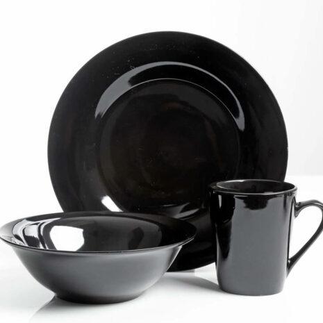 Gibson Home Ceramic 12pc dinnerware set, Black