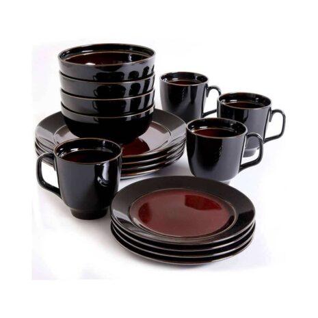 Gibson Home Ceramic 16pc dinnerware set, Blue colourful pattern