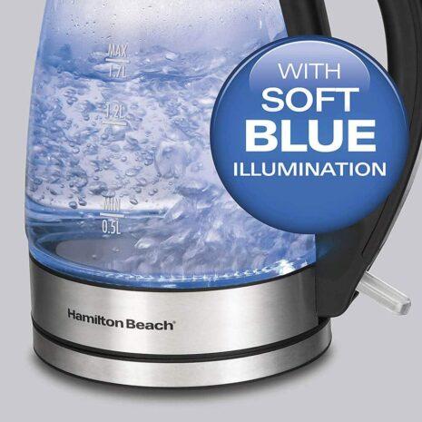 Hamilton beach 1.7-liter soft blue illuminated glass kettle