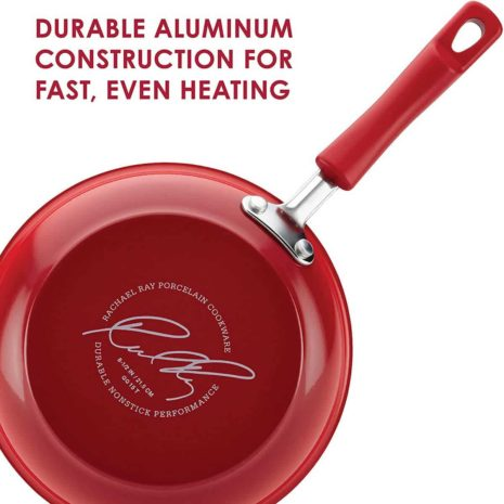 Rachael Ray 14 Piece Hard Enamel Cookware, Bakeware and Tools (Red)
