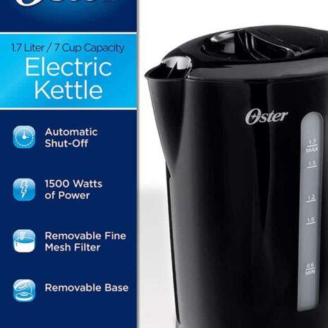 Oster Electric Kettle 1.7-Liter, Black