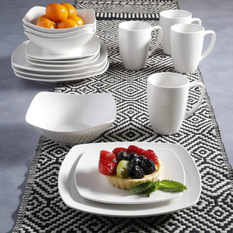 Gibson Home Ceramic 16pc dinnerware set, White