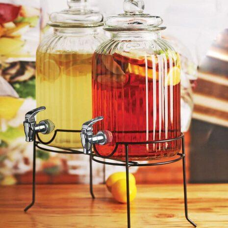 Circleware Double Ridge Glass Beverage Dispensers 2.6 gallons