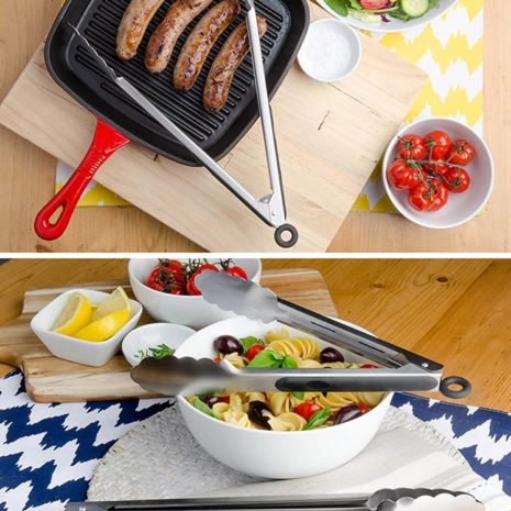 Home Basics 2pk stainless steel & silicone tongs, Black