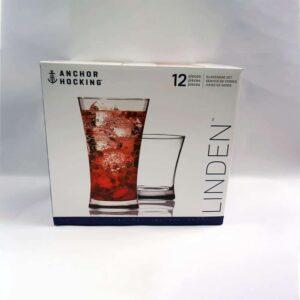 Anchor Hocking 12 pc linden glass set