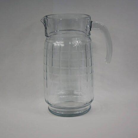 Windowpane glass pitcher