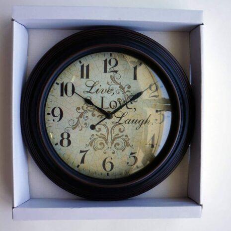 """Analog Clock 12"""", Brown, live, love, laugh"""