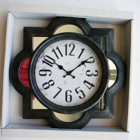 "Analog Clock 16"", Grey with mirror"