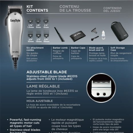 Easy Style Adjustable Blade Clipper 7 pc kit