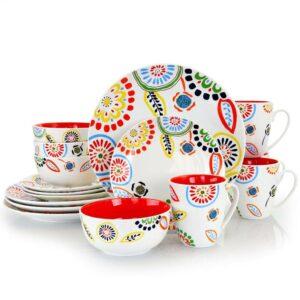 Gibson Home Ceramic 16pc Dinnerware Set – Orange Colourful Pattern