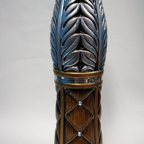 Brown Ceramic Vase with Silver Pattern 24 inches