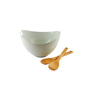 Gibson Gracious Dining 3 Piece Porcelain Serving Bowl with Wooden Serve ware