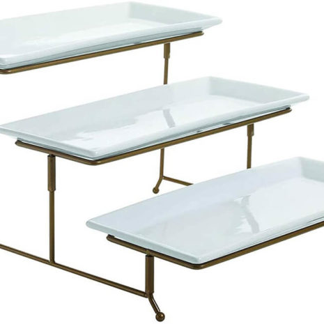 Gibson Gracious Dining Dinnerware, 3-Tier Plate Set with Metal Stand