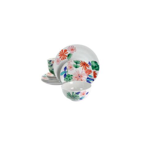 Gibson Home Dazzling Lily 12 Piece Ceramic Dinnerware Set