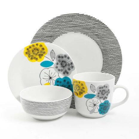 Gibson Home Marigold 16 Piece Fine Ceramic Dinnerware Set
