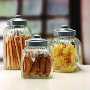 Circleware 3pc Column Glass Canister with Metal Lid