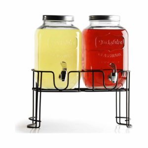 Circleware Double Yorkshire Glass Beverage Drink Dispensers with Metal Stand - 1 Gallon