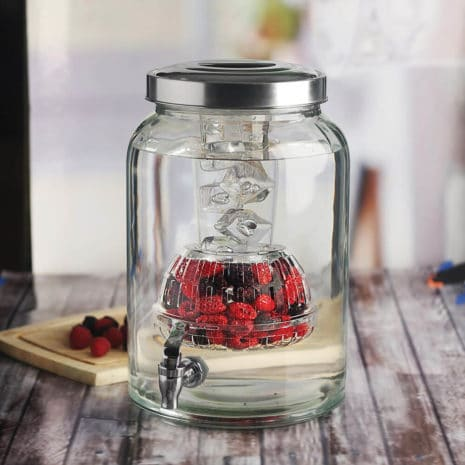 Circleware Valencia Glass Beverage Drink Dispenser with Ice Insert and Fruit Infuser - 2.7 Gallon