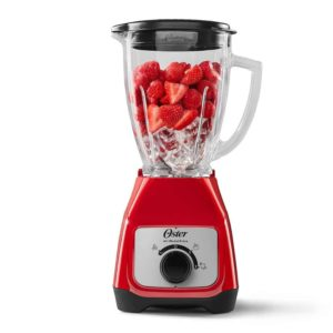 Oster Blender with Glass Jug and Knob Control - Red