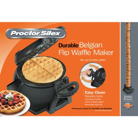 Proctor Silex Belgian Style Flip Waffle Maker - Black