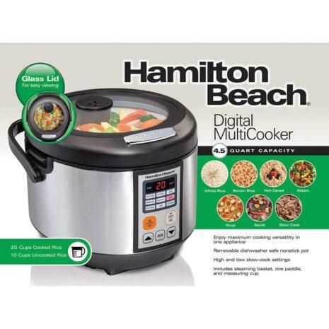 Hamilton Beach 9in1 Digital Multicooker 4.5 Quart - Silver / Black
