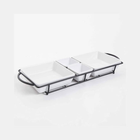 Gibson Elite Gracious Dining 5 Piece Serving Set with Metal Rack - White
