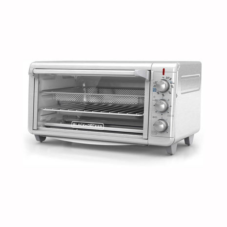 """Black and Decker Air Fry Toaster Oven 1500w with 9""""x13"""" Tray - Silver"""