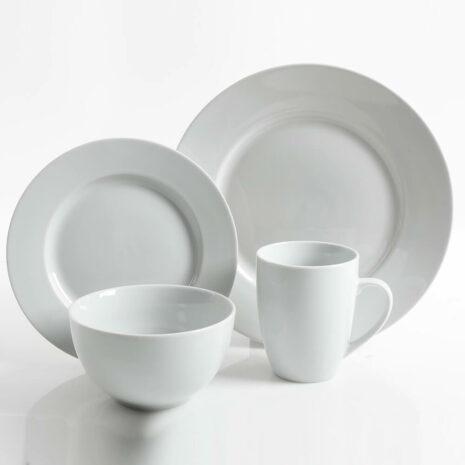 Gibson Home Classic Pearl 16 piece fine ceramic dinnerware set - White