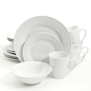 Gibson Home Dinner Set - Embossed Buffet 16 Piece Fine Ceramic - White