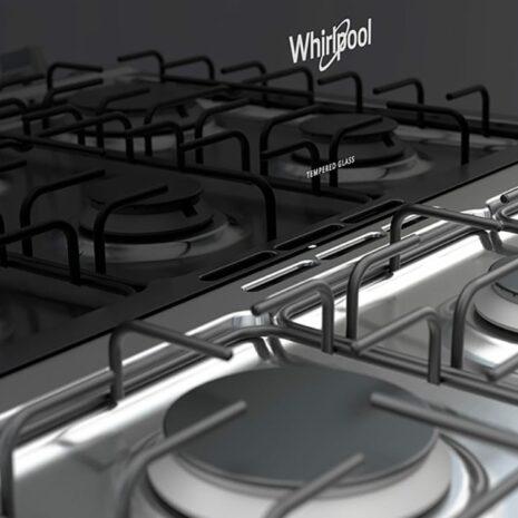 """Whirlpool 30"""" 6-Burner Gas Range with Stainless Steel Top - Black"""