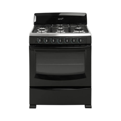 """Acros 30"""" 6-Burner Gas Stove with Stainless Steel Top - Black"""