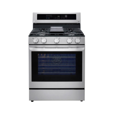 LG Stove - 5.8cft Smart Wi-Fi Enabled True Convection InstaView Gas Range with Air Fryer - Stainless Steel